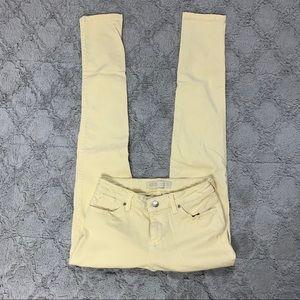 Zara Denim 1975 pastel yellow skinny jeans